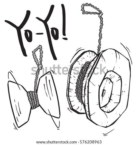 yo yo toy set sketch  isolated