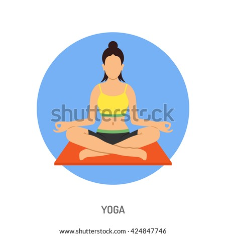 Yoga and Fitness Concept for Mobile Applications, Web Site, Advertising like Woman in Lotus Pose Icons. #424847746