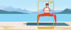 Yoga blogger, copy space template. Flat vector stock illustration. Activity in nature. Woman doing yoga asanas. Blog phone. Video training. Illustration with place for text