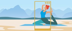 Yoga blogger training, copy space template. Flat vector stock illustration. Woman doing yoga asanas. Phone, gadget for internet blog. Online video training. Illustration with place for text