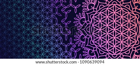 Yoga bright background. Template with a symbol of sacred geometry in acid color on a dark substrate for sites of spiritual development. Flower of Life.