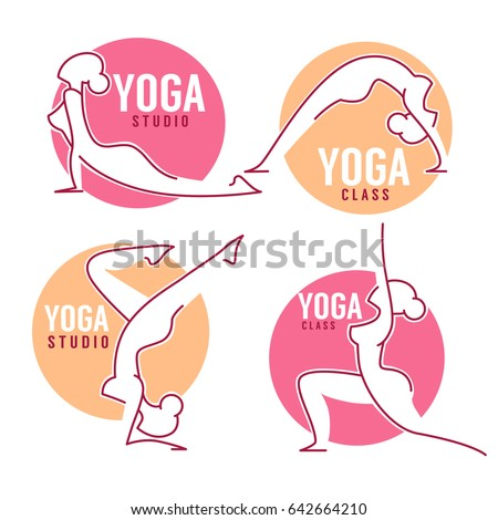 yoga class  women poses for