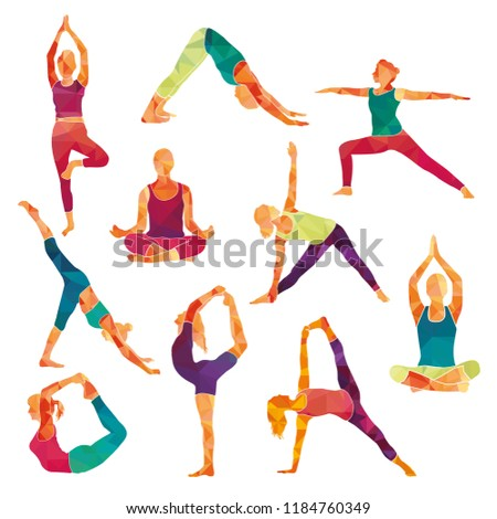 Yoga Colorful Fitness Concept. Sport women. Vector illustration