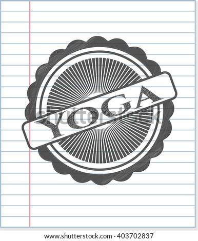 Yoga drawn with pencil strokes
