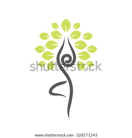 yoga emblem with abstract tree
