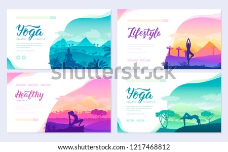 Yoga exercise on the top of the mountains surrounded by nature. Healthy lifestyle for beautiful girls. Sport design for poster, magazine, brochure, booklet