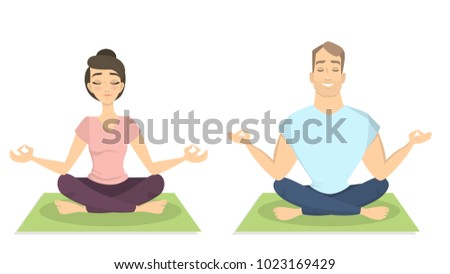 yoga for two man and woman in