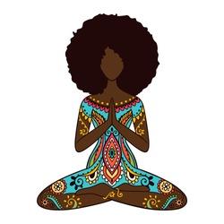 Yoga girl. African american woman doing yoga.  Ornament Meditation pose. India ethnic vector illustration style. Black woman lotus Yoga pose
