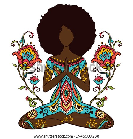 Yoga girl. African american woman doing yoga. Ornament Meditation pose. India ethnic vector illustration style. Black woman lotus Yoga pose with flowers