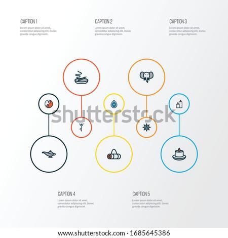yoga icons colored line set