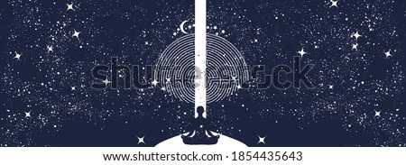 Yoga in universe. Meditation banner. Human in a lotus pose. Symbol of secret knowledge, harmony of soul and body, wisdom, religion. Black and white surreal graphic