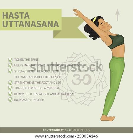 Yoga infographics Hasta uttanasana (hatha yoga). Om symbol ...