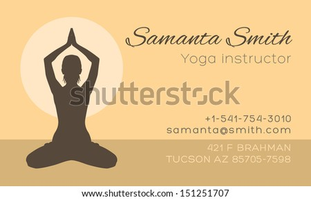 Yoga business card template download free vector art stock yoga instructor business card vector template reheart