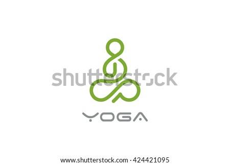 yoga logo abstract man sitting