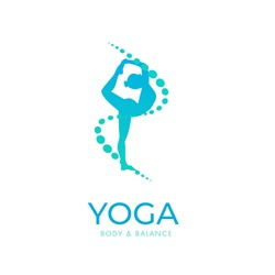 Yoga logo/icon, woman doing yoga pose, vector design