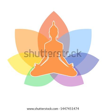 Yoga. Lotus position silhouette. Meditation or meditate vector illustration. Chakra concept. Buddha silhouette in lotus position over colorful ornate mandala. Buddhism esoteric motifs.