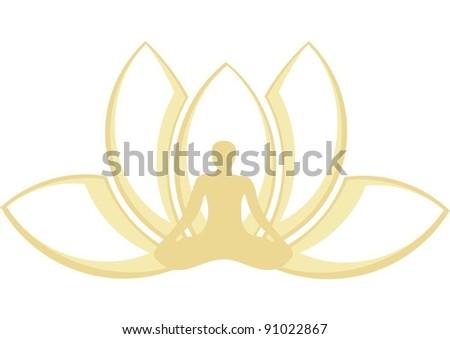 yoga lotus posture - stock vector