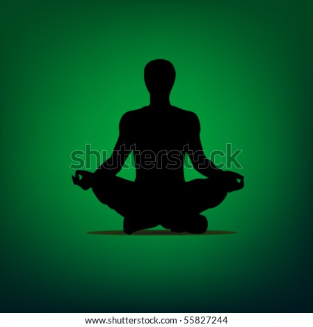 yoga man on the green background