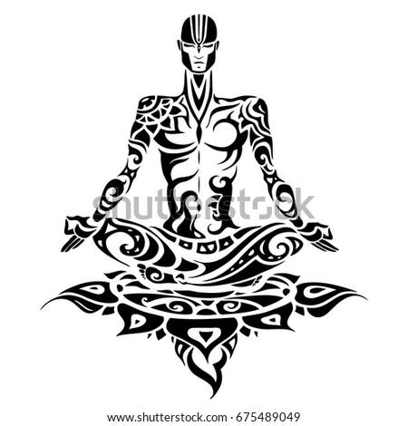 yoga man silhouette hand drawn