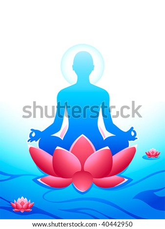Yoga meditation at the sacred lotus sea of heaven