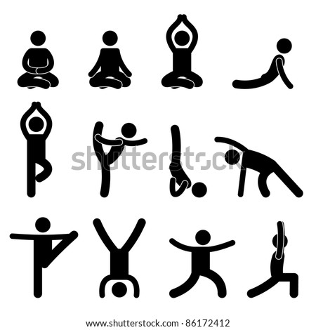 Yoga Meditation Exercise Stretching People Icon Sign Symbol Pictogram