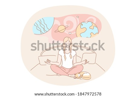 Yoga, meditation, imagination concept. Calm woman cartoon character meditating dreaming doing yoga exercises in lotus pose. Imagination or dream expansion of consciousness and imaginative mindset.