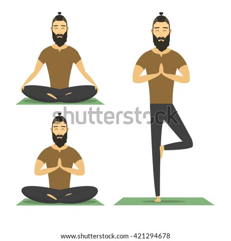 Vector Images Illustrations And Cliparts Yoga Meditation Man With Beard Isolated On White Background Cartoon Meditation Yoga Character Vector Yoga Flat Design Meditation Pose Illustration Hipster Male Yoga Meditation Hqvectors Com