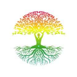 yoga meditation with tree of life vector illustrations