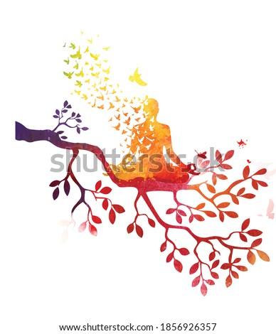 yoga meditation with tree,Tree of Life Yoga,meditation vector