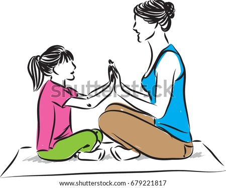 yoga mother and daughter vector illustration