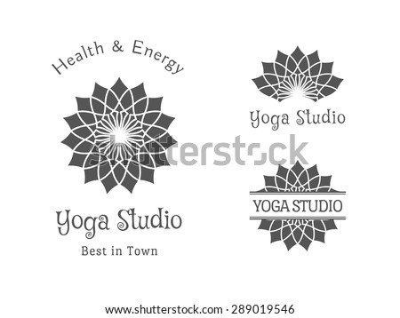 Yoga ornamental emblem set. Vector lineart logo template for relax or spa center, yoga studio, healthcare and traditional medicine