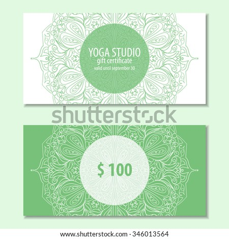 Vector Images Illustrations And Cliparts Yoga Ornamental Gift Certificate With Mandala Abstract Background Concept For Yoga Centers Beauty Salon Spa Fashion Flyer Banner Design Hqvectors Com