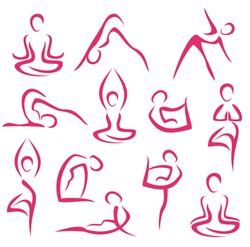 yoga, pilates big set of vector symbols
