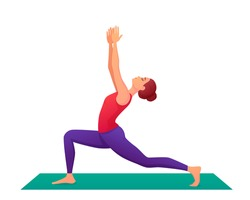 Yoga pose in cartoon power. The woman goes in for sports. Stretching and flexibility. Vector illustration isolated on white background. A cold lifestyle.