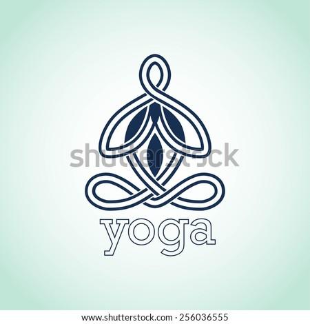yoga pose of lotus logo design