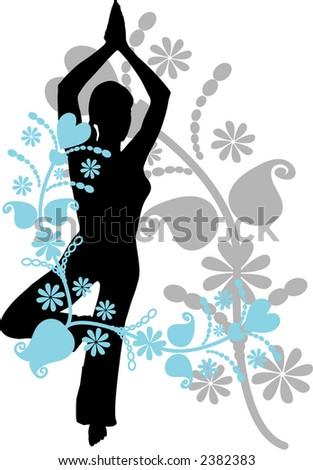 yoga pose with decorative frame