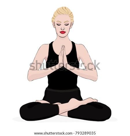 yoga pose  woman meditating in