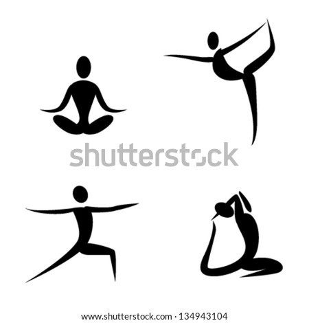 yoga poses and health care icons for fitness yoga class