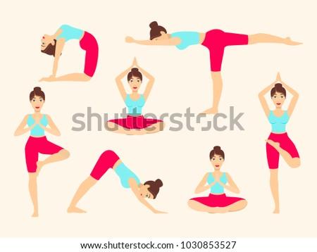 Yoga poses. Asanas. Female silhouette. Vector illustration.