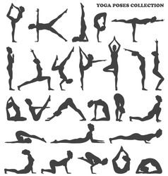 Yoga Poses Collection Set Black Icons Isolated on White Background