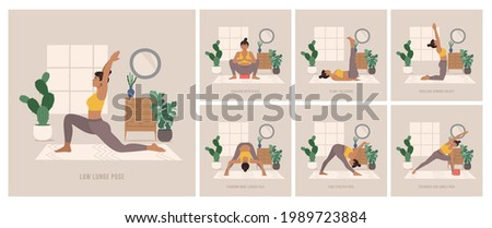 Yoga Poses Set. Young woman practicing Yoga pose. Woman workout fitness, aerobic and exercises. Boho style Vector Illustration.  Foto stock ©