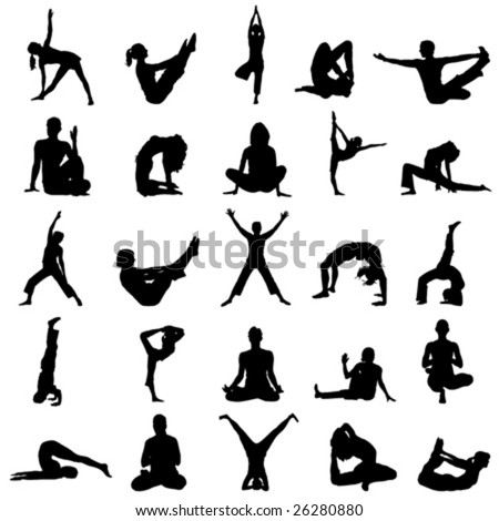 Yoga Positions Stock Vector 26280880 : Shutterstock