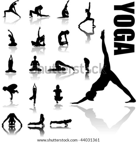 Yoga positions silhouettes in vector art