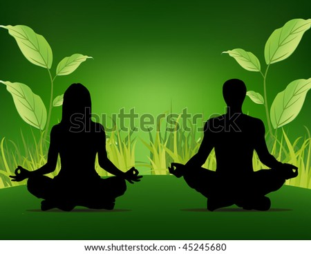 yoga poster - people sitting on the grass background