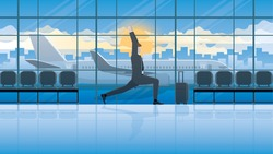 Yoga posture businessman at international airport waiting for business trip flight in balance pose, body stretching, relieve stress, body balance, relaxation, mindfulness, meditation, calm and peace.
