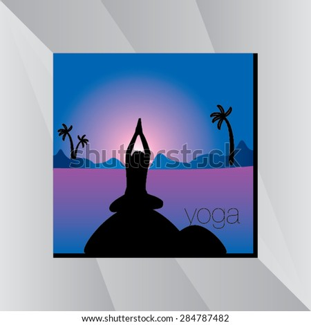 yoga posture with sunset view