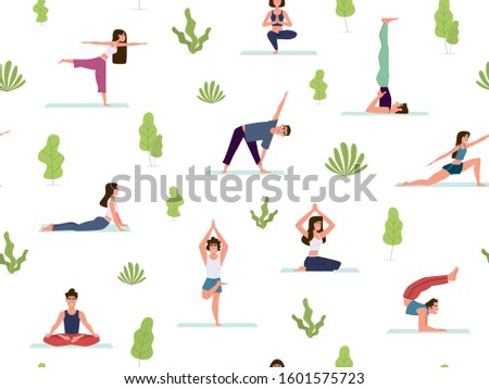 Yoga seamless pattern. People demonstrating various yoga positions warming up and stretching exercises, meditation in park vector active exercising texture