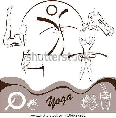 yoga  set icon  vector