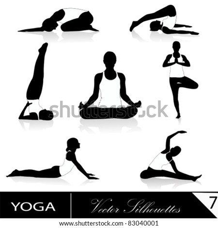 Yoga silhouette collection, vector illustration