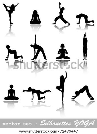 yoga silhouette icons